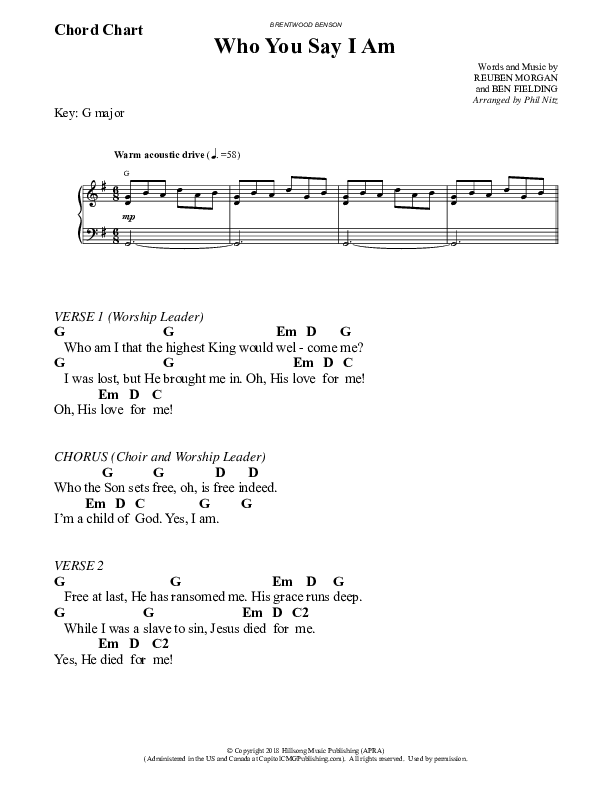 Who You Say I Am (Choral) Chord Chart (Hillsong Worship / Brentwood Benson Choral / Arr. Phil Nitz)