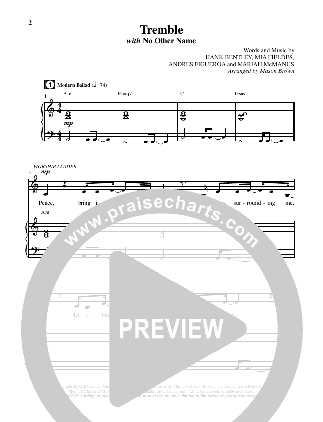 Tremble (No Other Name) (Choral) Piano Vocal (Brentwood-Benson Choral / Arr. Mason Brown, Jeff Anderson)