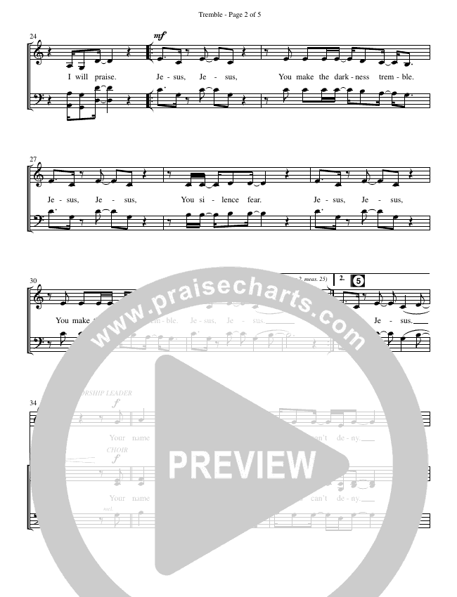 Tremble (No Other Name) (Choral) Choir Sheet (SATB) (Brentwood-Benson Choral / Arr. Mason Brown, Jeff Anderson)