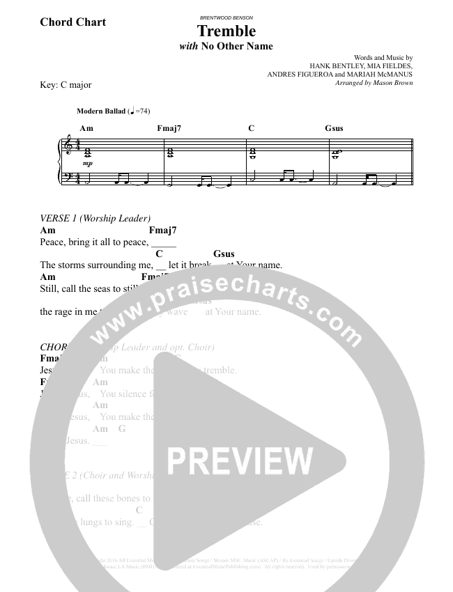Tremble (No Other Name) (Choral) Chord Chart (Brentwood-Benson Choral / Arr. Mason Brown, Jeff Anderson)