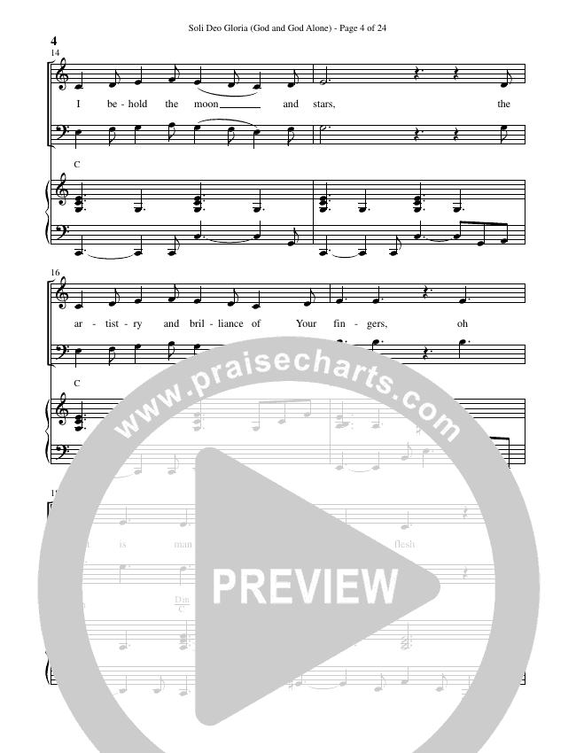 Soli Deo Gloria (God And God Alone) (Choral) Piano Vocal (Brentwood Benson Choral / Arr. Cliff Duren)