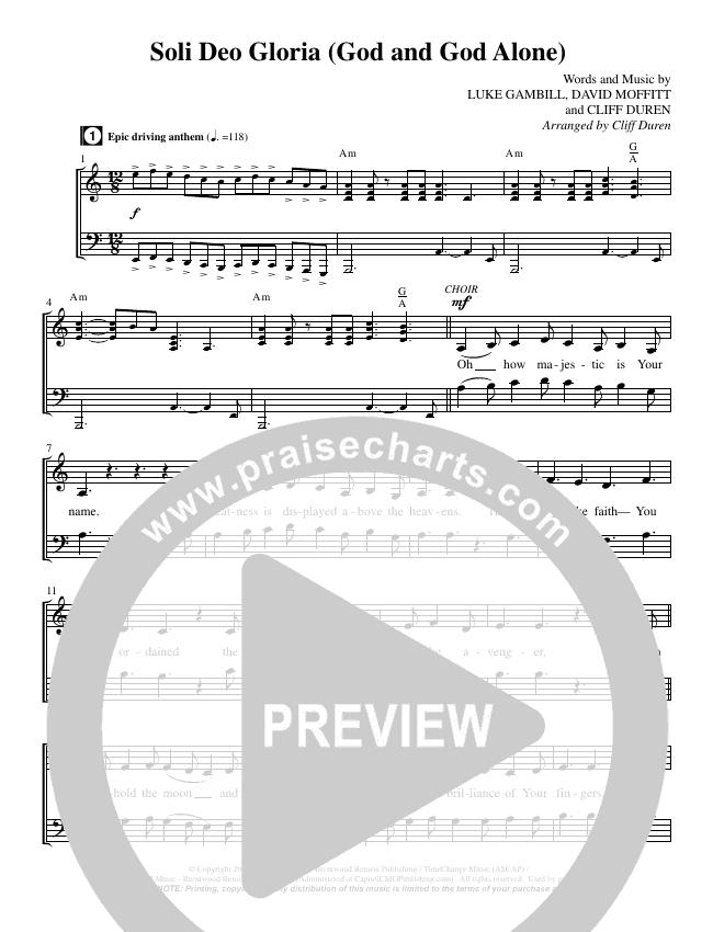 Soli Deo Gloria (God And God Alone) (Choral) Choir Sheet (SATB) (Brentwood Benson Choral / Arr. Cliff Duren)