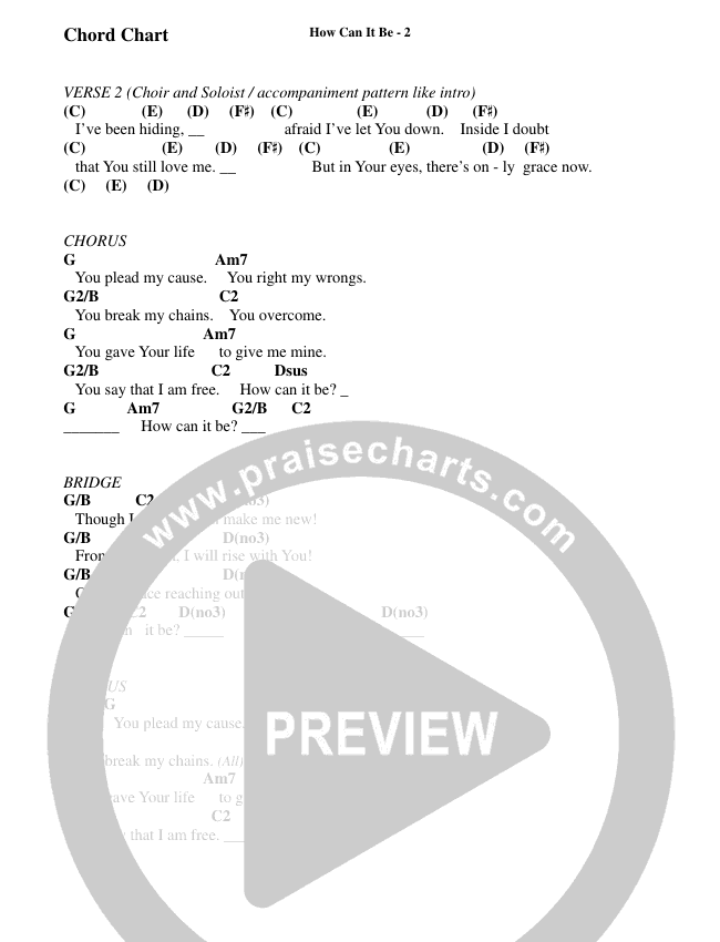 How Can It Be (Choral) Chord Chart (Brentwood Benson Choral / Arr. Cliff Durren)
