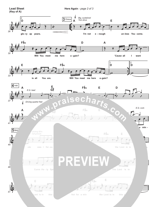 Here Again Lead Sheet (Melody) (Elevation Worship)