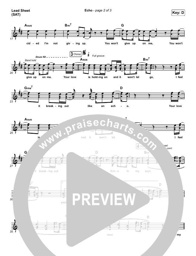 Echo Lead Sheet (SAT) (Elevation Worship / Tauren Wells)