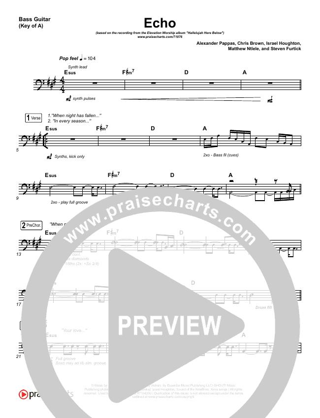 Echo Bass Guitar - Elevation Worship   PraiseCharts