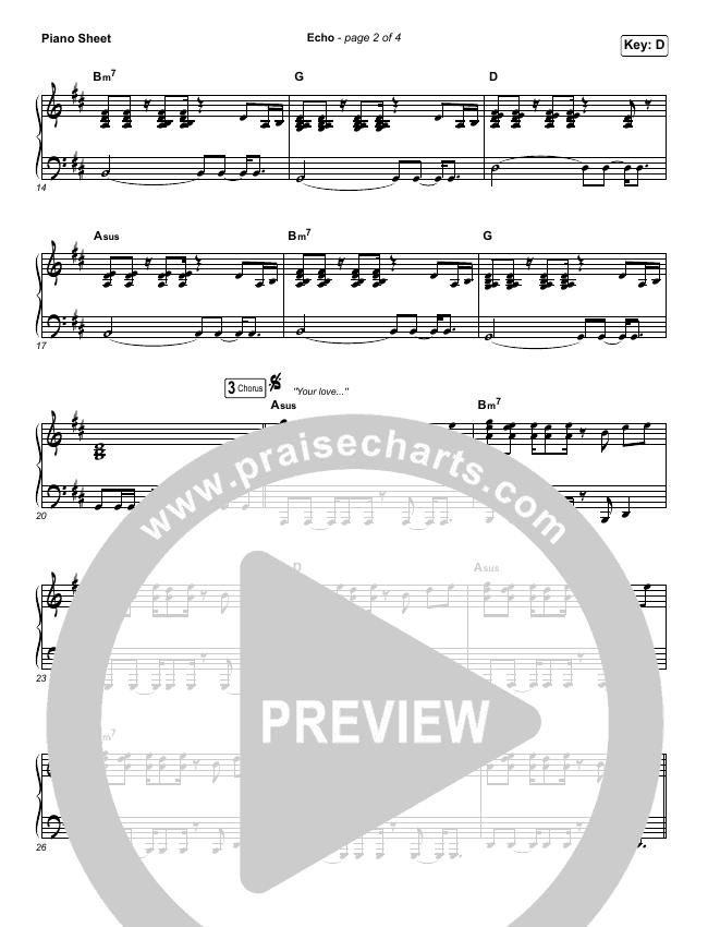 Echo Piano Sheet (No Vocals) - Elevation Worship   PraiseCharts