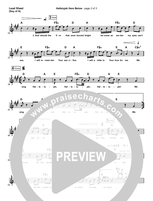 Hallelujah Here Below Lead Sheet (Melody) (Elevation Worship)
