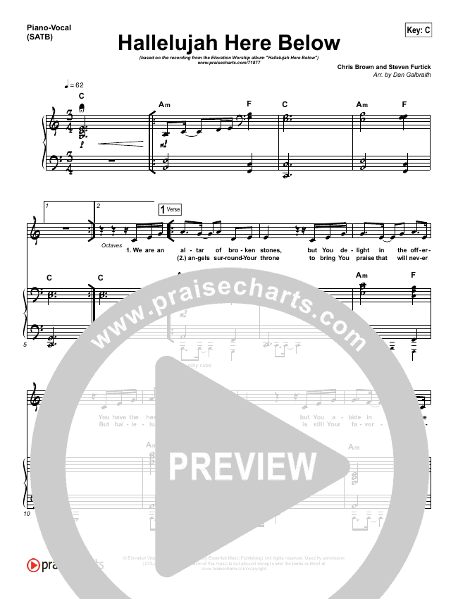 Hallelujah Here Below Piano/Vocal (SATB) (Elevation Worship)