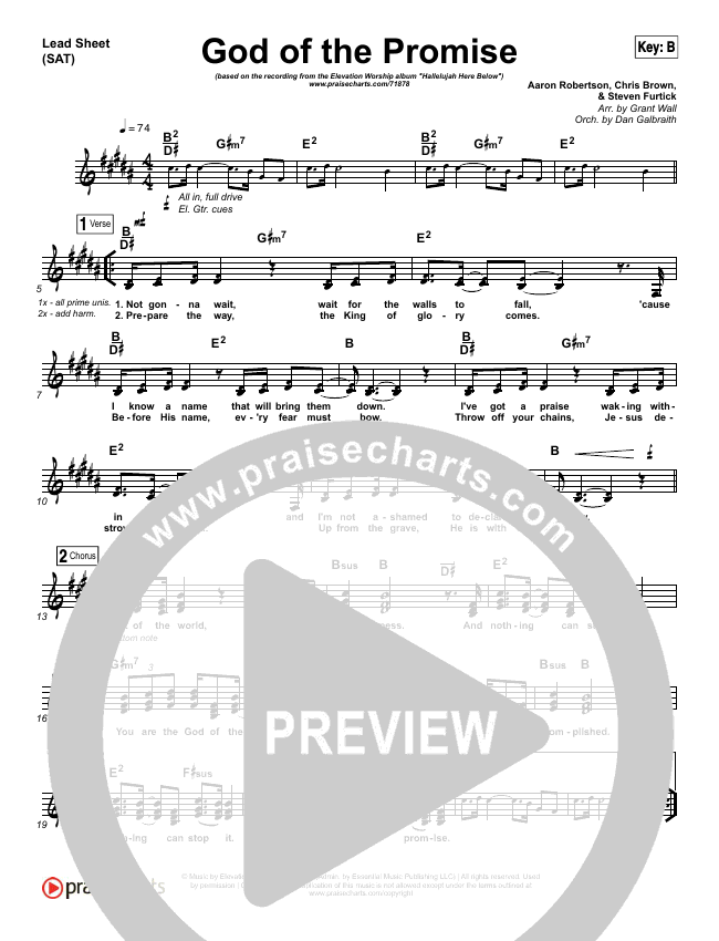 God Of The Promise Lead Sheet & Piano/Vocal - Elevation