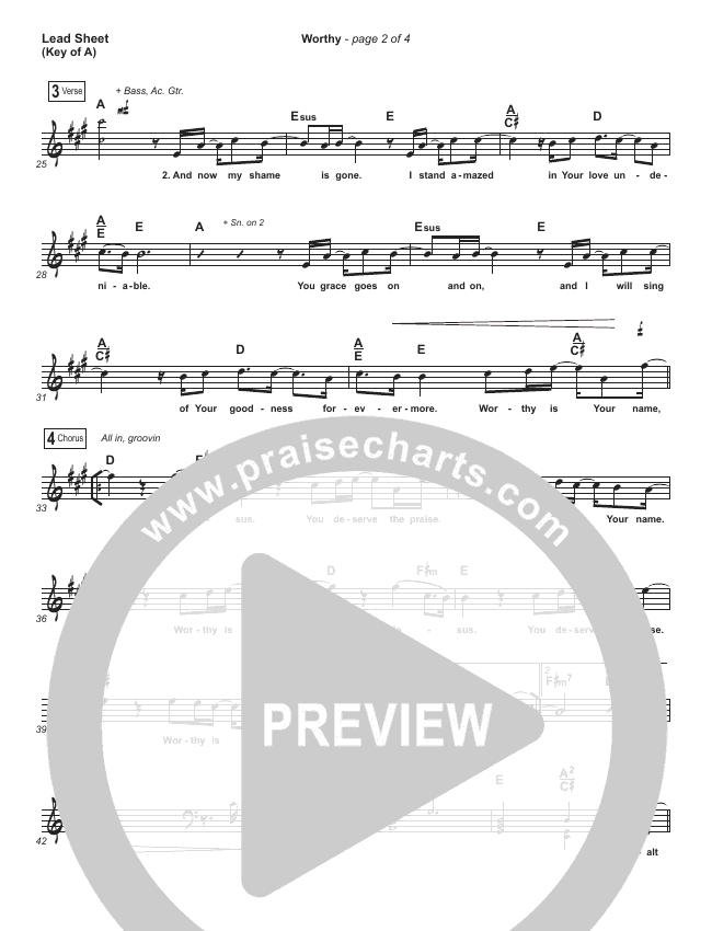 Worthy Lead Sheet (Melody) (Elevation Worship)