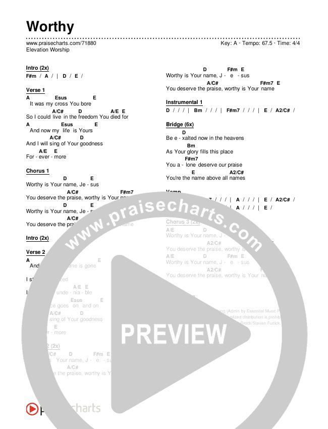 Worthy Chords & Lyrics (Elevation Worship)
