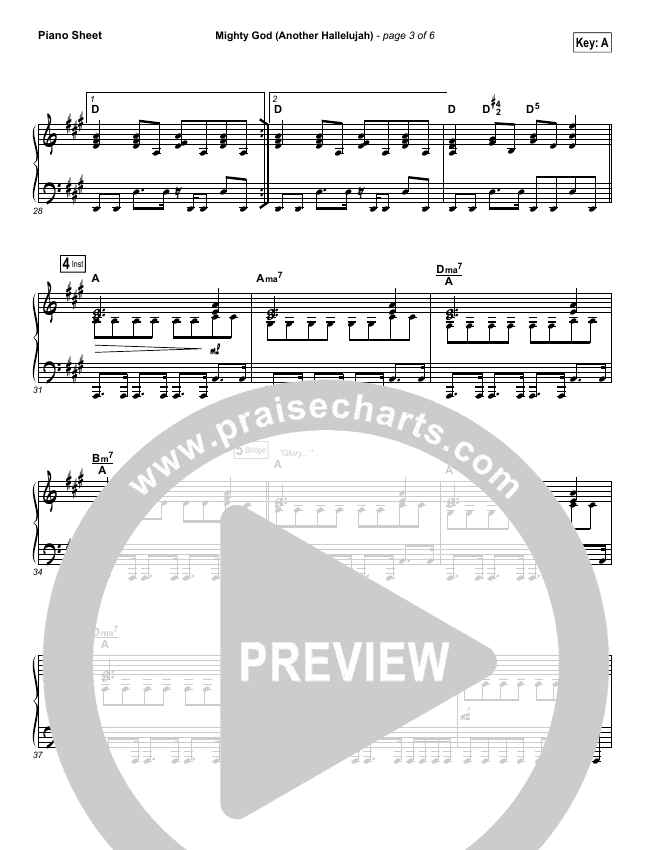 Mighty God (Another Hallelujah) Piano Sheet (Elevation Worship)