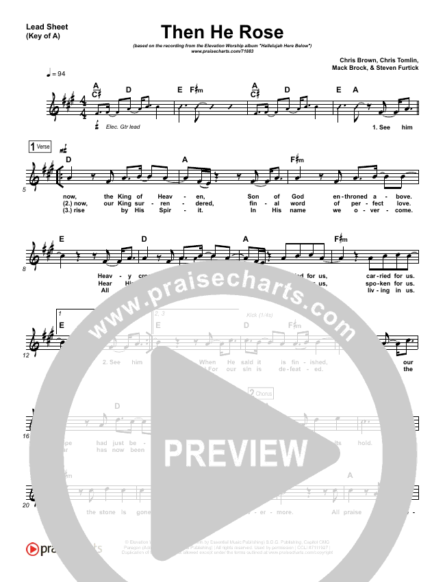 Then He Rose Lead Sheet (Melody) (Elevation Worship)