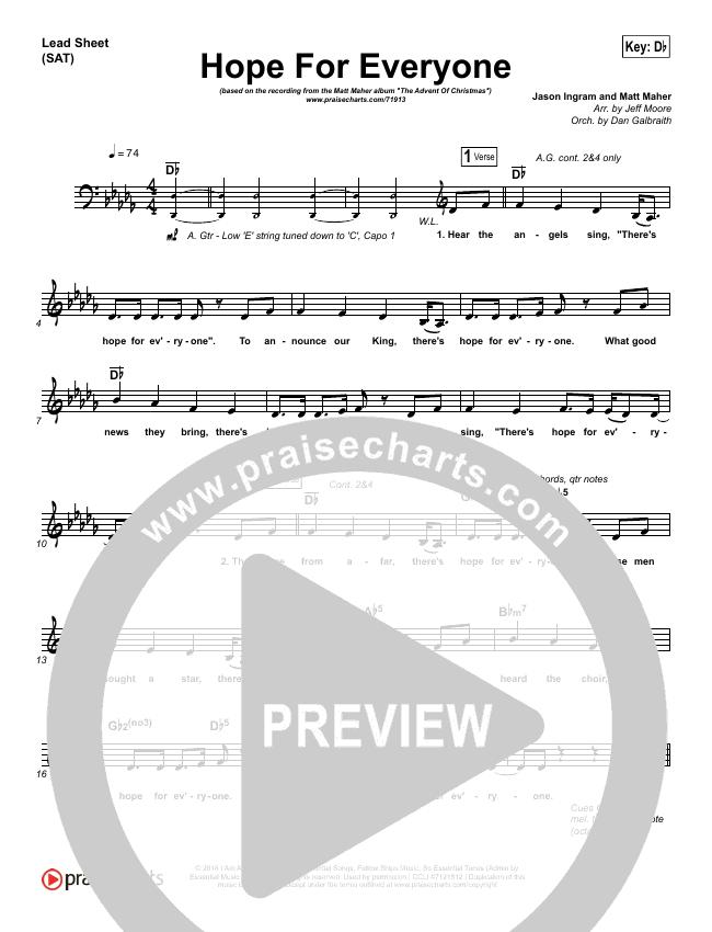 Hope For Everyone Lead Sheet (SAT) (Matt Maher)