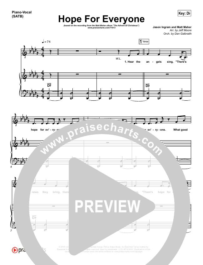 Hope For Everyone Piano/Vocal (SATB) (Matt Maher)