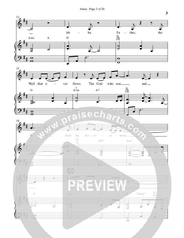Amen (Choral) Piano Vocal (Brentwood Benson Choral / Arr. Jonathan Walker)