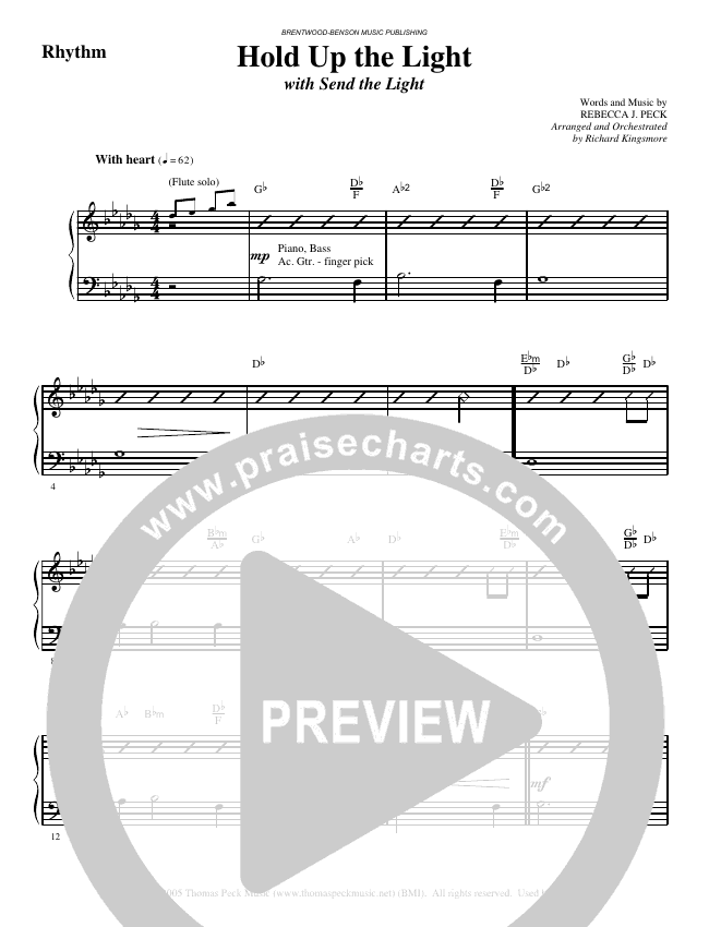 Hold Up The Light (with Send The Light) (Choral) Orchestration (Brentwood-Benson Choral / Arr. Richard Kingsmore)