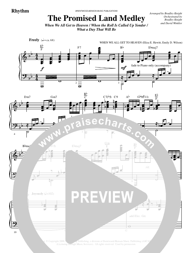 The Promised Land Medley (Choral) Orchestration (Brentwood Benson Choral / Arr. Bradley Knight)