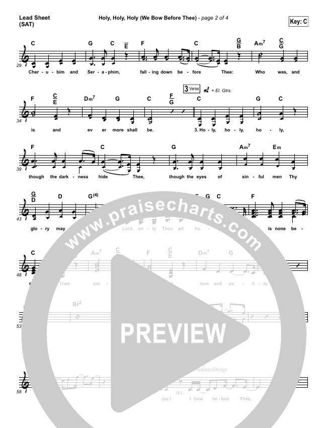 Holy Holy Holy (We Bow Before Thee) Lead Sheet (SAT) (Shane & Shane / The Worship Initiative)