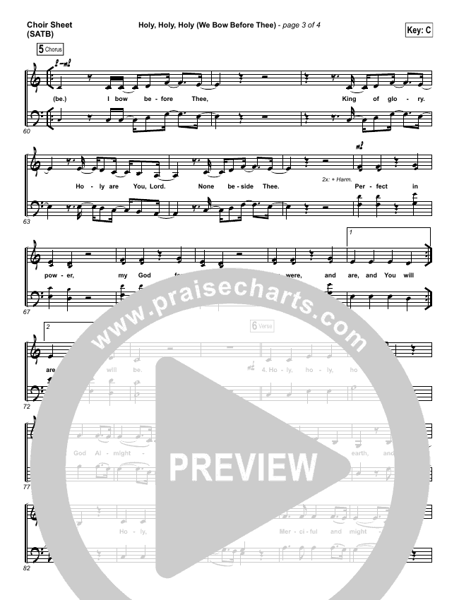 Holy Holy Holy (We Bow Before Thee) Choir Sheet (SATB) (Shane & Shane / The Worship Initiative)