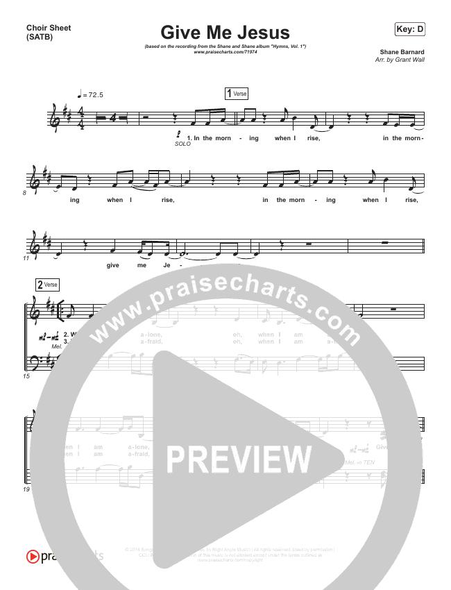 Give Me Jesus Choir Sheet (SATB) (Shane & Shane / The Worship Initiative)