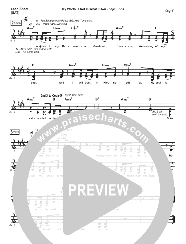 My Worth Is Not In What I Own Lead Sheet (SAT) (Shane & Shane / The Worship Initiative)