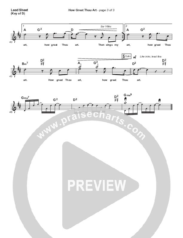 How Great Thou Art Lead Sheet (Melody) (Shane & Shane / The Worship Initiative)