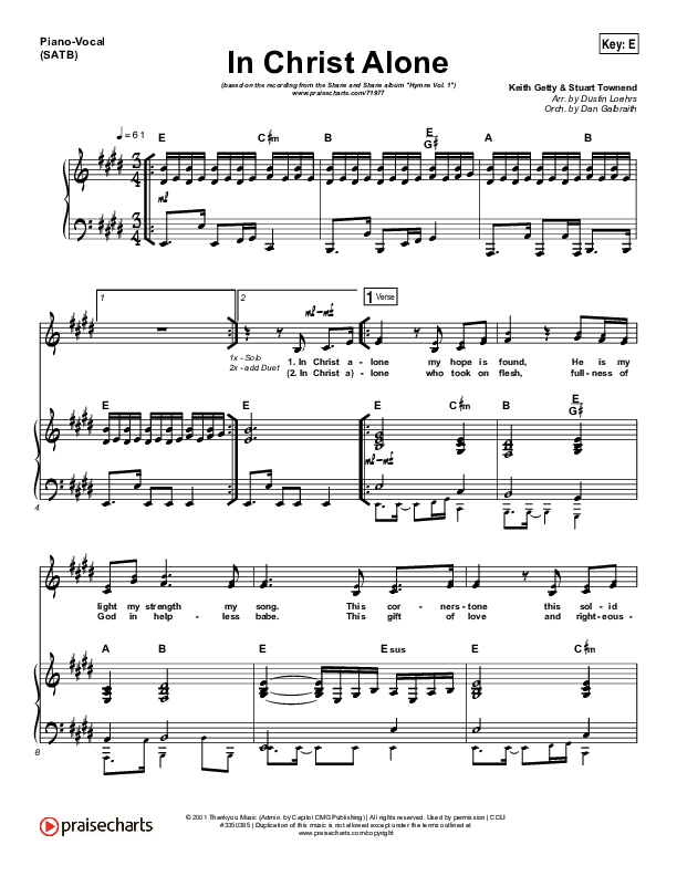 In Christ Alone Piano/Vocal (SATB) (Shane & Shane / The Worship Initiative)