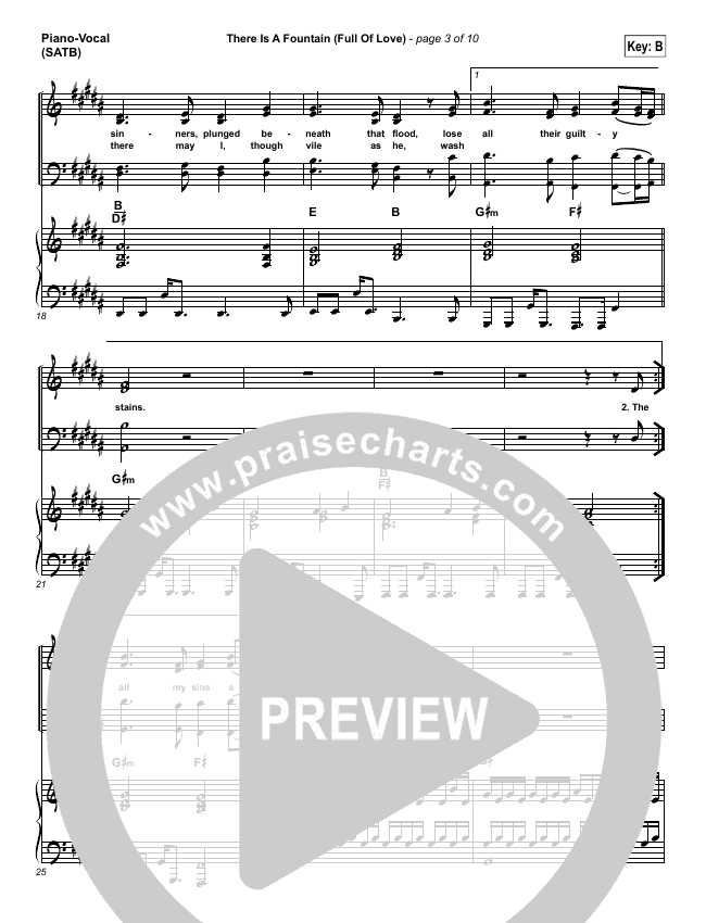 There Is A Fountain (Full Of Love) Piano/Vocal (SATB) (Shane & Shane / The Worship Initiative)