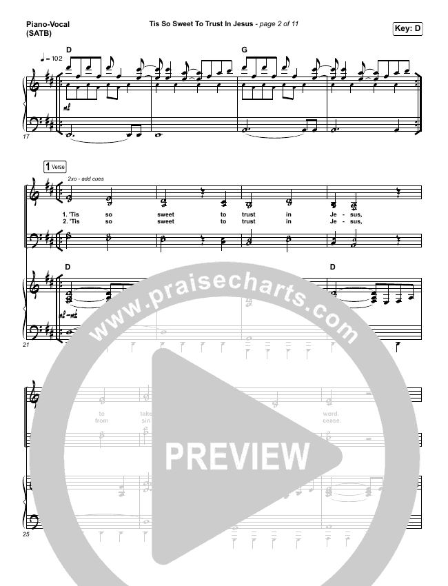 Tis So Sweet To Trust In Jesus Piano/Vocal (SATB) (Shane & Shane / The Worship Initiative)