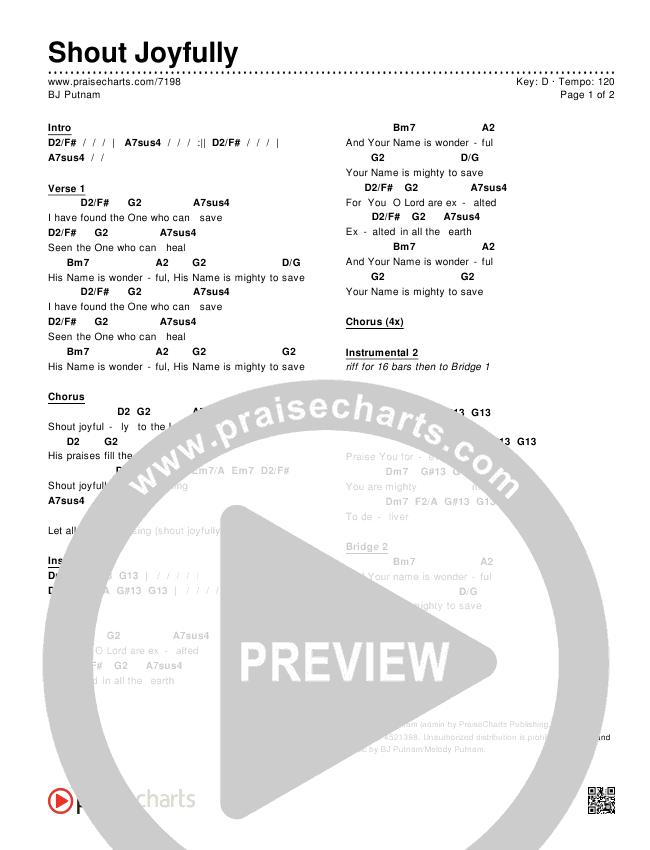 Shout Joyfully Chords Bj Putnam Praisecharts