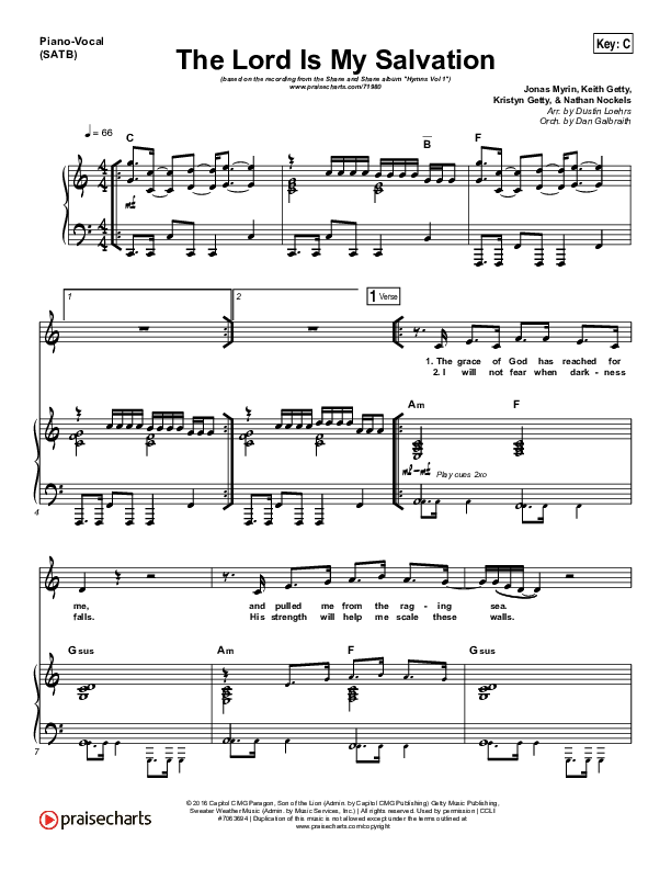 The Lord Is My Salvation Piano/Vocal (SATB) (Shane & Shane / The Worship Initiative)