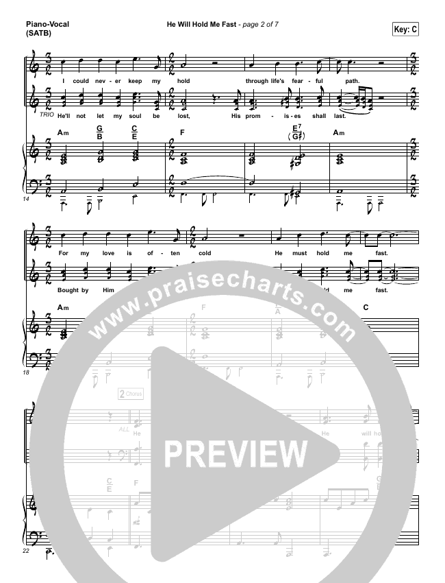 He Will Hold Me Fast Piano/Vocal (SATB) (Shane & Shane / The Worship Initiative)