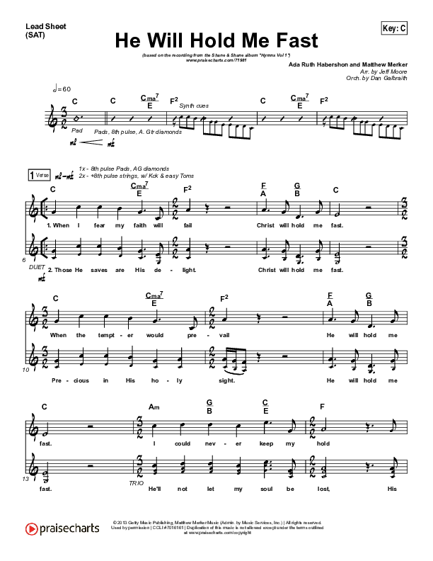 He Will Hold Me Fast Lead Sheet (SAT) (Shane & Shane / The Worship Initiative)