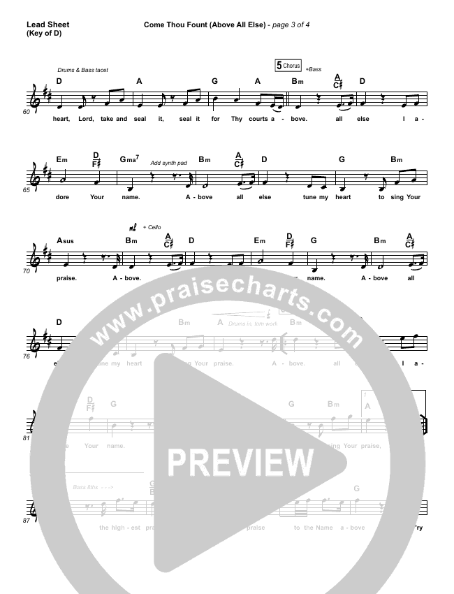 Come Thou Fount (Above All Else) Lead Sheet (Melody) (Shane & Shane / The Worship Initiative)