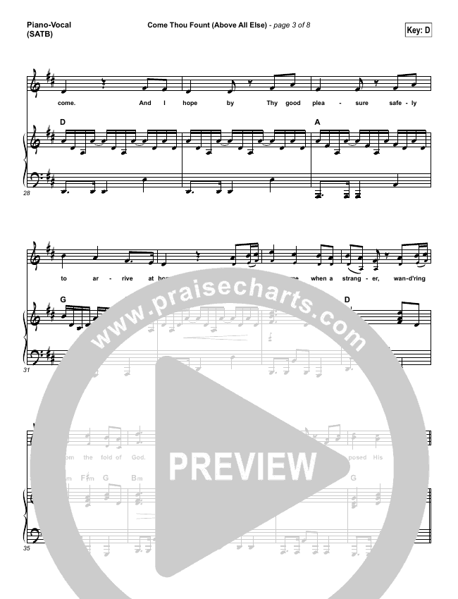Come Thou Fount (Above All Else) Piano/Vocal (SATB) (Shane & Shane / The Worship Initiative)