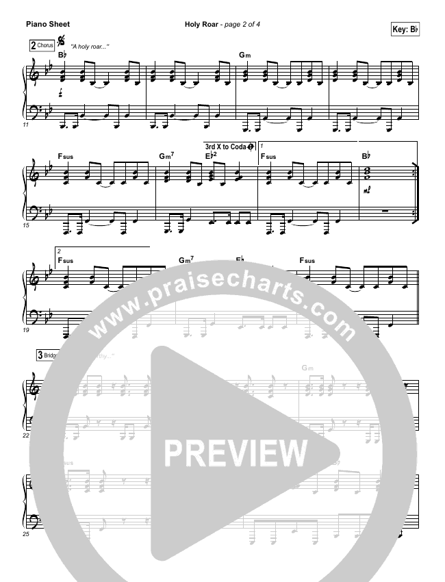 Holy Roar Piano Sheet (No Vocals) - Chris Tomlin | PraiseCharts