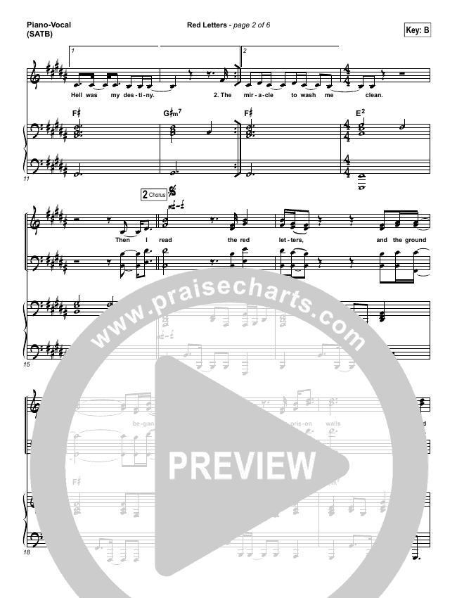 Red Letters Piano/Vocal (SATB) (Crowder)