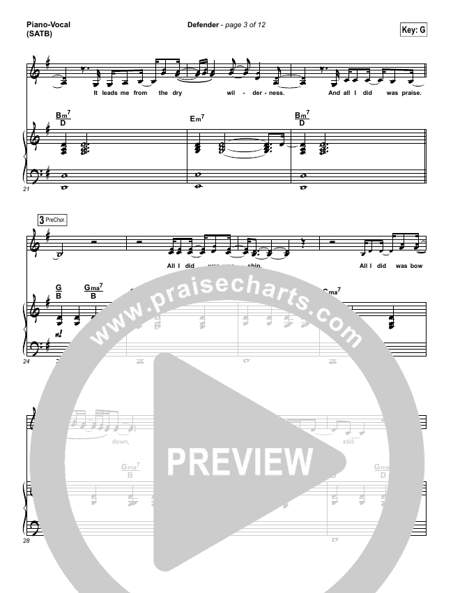 Defender Piano/Vocal (SATB) (Francesca Battistelli)