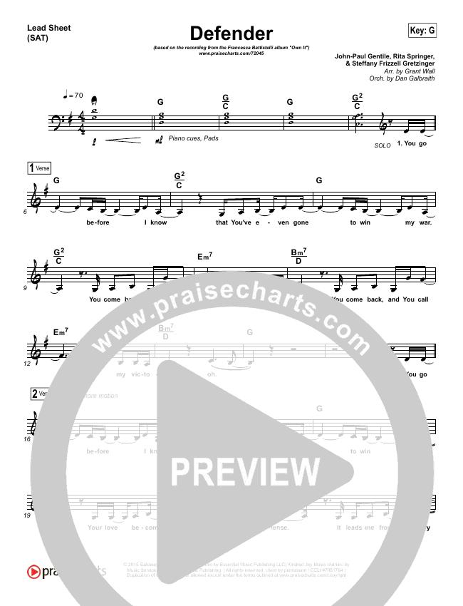 Defender Piano/Vocal Pack (Francesca Battistelli)