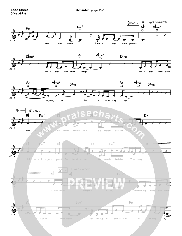 Defender Lead Sheet (Melody) (Francesca Battistelli)