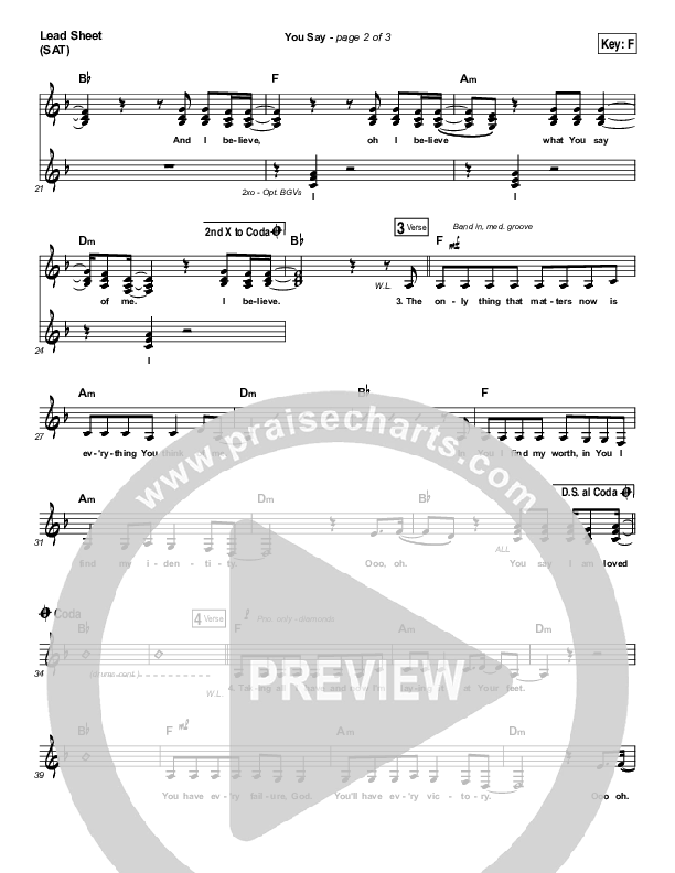 You Say (Choral) Orchestration (Lauren Daigle / PraiseCharts Choral / Arr. Luke Gambill)