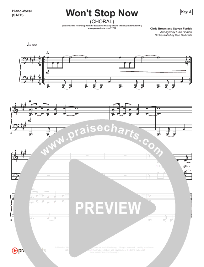 Won't Stop Now (Choral) Orchestration (Elevation Worship / PraiseCharts Choral)