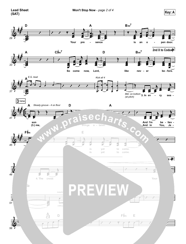 Won't Stop Now (Choral) Piano/Vocal (SATB) (Elevation Worship / PraiseCharts Choral)