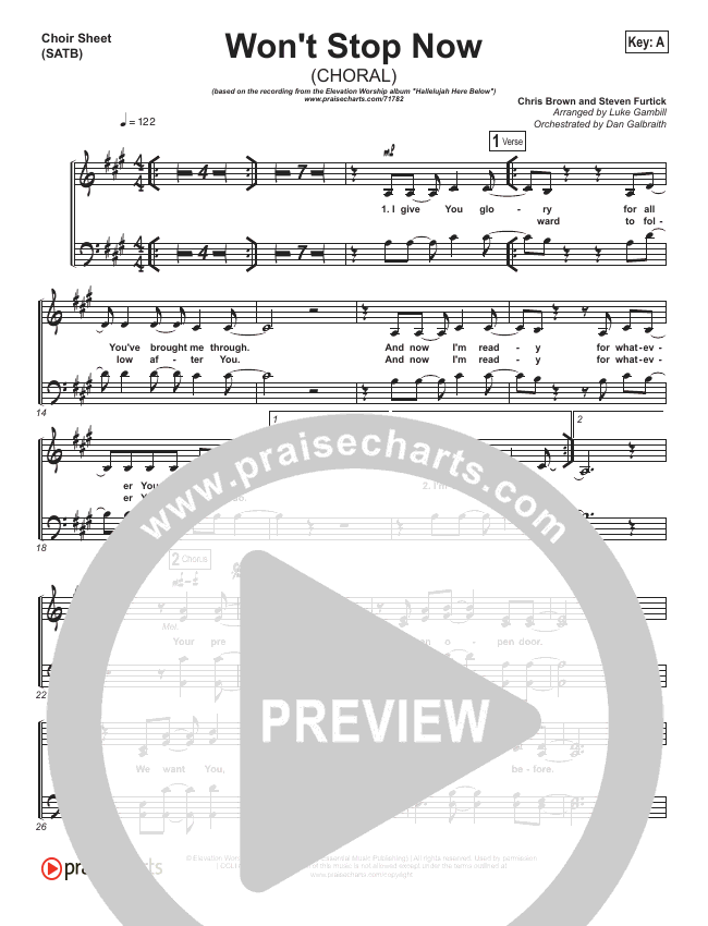 Won't Stop Now (Choral) Choir Sheet (SATB) (Elevation Worship / PraiseCharts Choral)