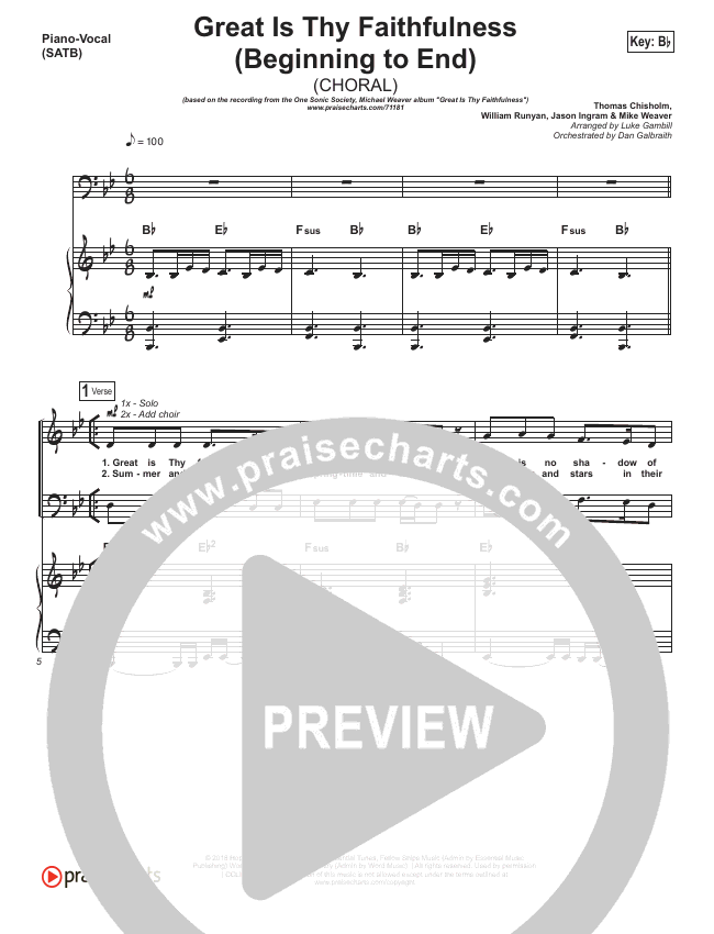 Great Is Thy Faithfulness (Beginning To End) (Choral) Orchestration (One Sonic Society / PraiseCharts Choral / Arr. Luke Gambill)