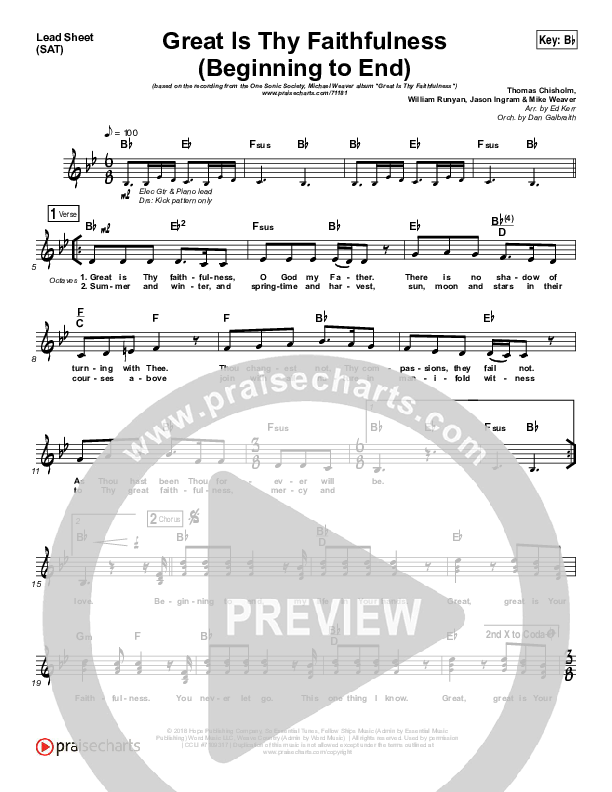 Great Is Thy Faithfulness (Beginning To End) (Choral) Lead Sheet (SAT) (One Sonic Society / PraiseCharts Choral / Arr. Luke Gambill)
