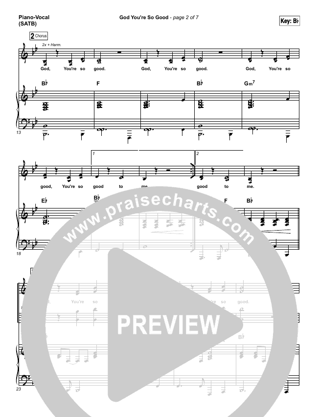 God You're So Good (Choral) Piano/Vocal (SATB) (Passion / PraiseCharts Choral / Arr. Luke Gambill)