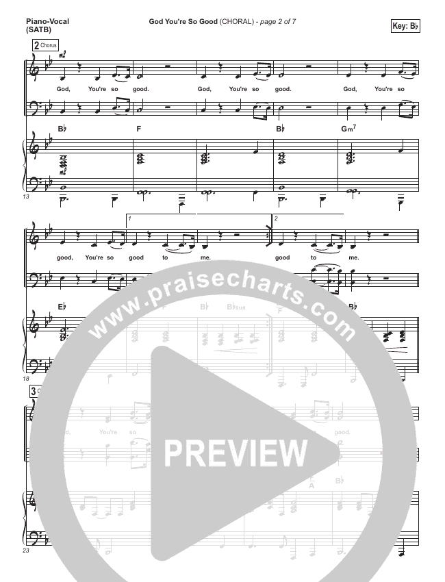 God You're So Good (Choral) Orchestration (Passion / PraiseCharts Choral)